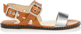 Jimmy Choo ASTRID FLAT Tan Vacchetta and Silver Liquid Leather Sandals