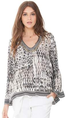 Hale Bob Zara Beaded Satin Tunic