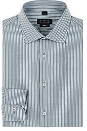 Barneys New York Men's Double-Striped Woven Cotton Shirt - Blue