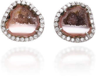 Kimberly McDonald 18K White Gold Diamond and Geode Earrings