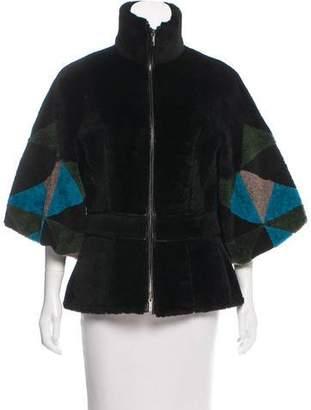 Fendi Geometric Shearling Zip-Up Jacket