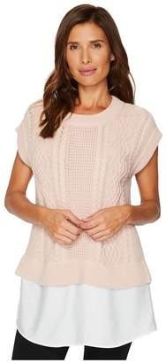 Vince Camuto Cabled Pullover with Rumple Shirttail Women's Sleeveless