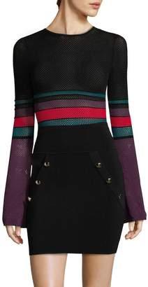Ronny Kobo Women's Stripe Mesh Bodysuit