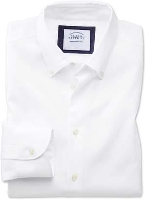 Charles Tyrwhitt Classic Fit Business Casual Non-Iron White Cotton Dress Shirt Single Cuff Size 15.5/32