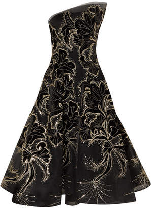 Monique Lhuillier Sequin-embellished Embroidered Velvet And Tulle Gown - Black
