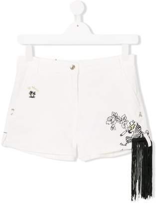 Patrizia Pepe Junior TEEN fringed trim embellished shorts