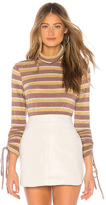 J.o.a. Ruched Sleeve Metallic Stripe Top