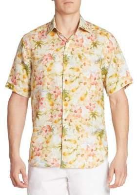 Saks Fifth Avenue COLLECTION Tropical Floral Linen Shirt