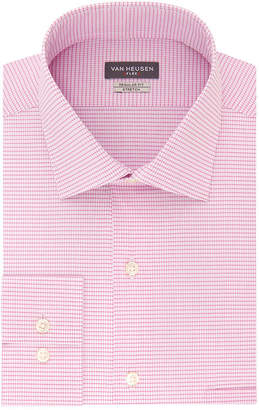 Van Heusen Wrinkle-Free Flex Collar Long Sleeve Twill Checked Dress Shirt