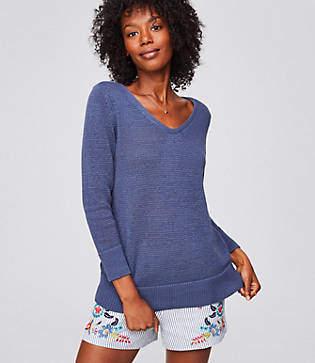 LOFT Petite Textural V-Neck Sweater