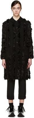 Comme des Garçons Black Faux-Fur Trim Coat $1,805 thestylecure.com