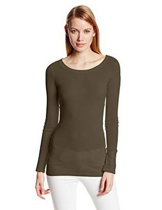 Michael Stars Women's Supima Long Sleeve raw Edge Band Crew