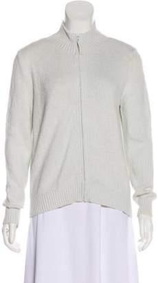 Loro Piana Long Sleeve Zip-Up Cardigan White Long Sleeve Zip-Up Cardigan