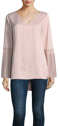 TDC T.D.C Bell Sleeve Satin Tunic Top