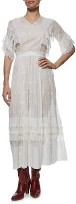 Vintage White Cotton Victorian Eyelet Dress