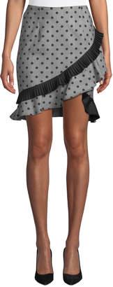 Nicole Miller New York Plaid and Polka-Dot Ruffled Skirt
