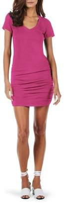Michael Stars Ruched V-Neck Jersey Minidress