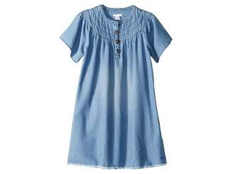 Chloé Kids Light Denim Dress, Stitched Yoke with Horn Buttons (Big Kids)