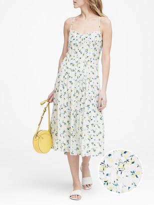 Banana Republic Petite Print Pin-Tuck Midi Dress
