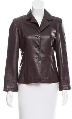 Giorgio Armani Leather Notch-Lapel Blazer