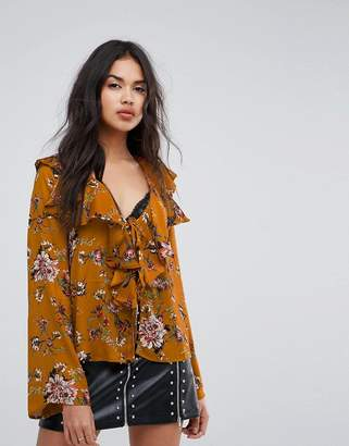 Missguided Floral Print Ruffle Blouse
