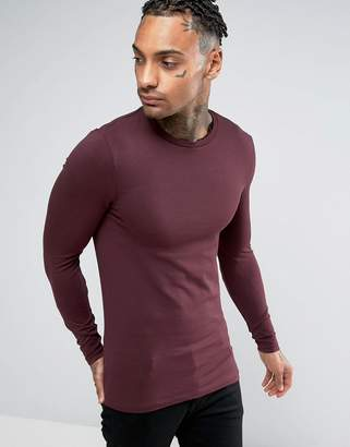 Asos Extreme Muscle Long Sleeve T-Shirt With Crew Neck In Red