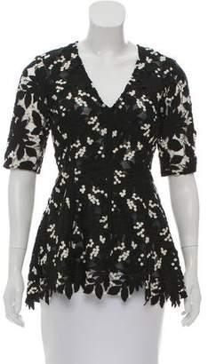 Lela Rose Lace Short Sleeve Top