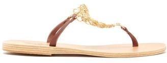 Ancient Greek Sandals Fokida Chain Embellished Leather Sandals - Womens - Dark Brown