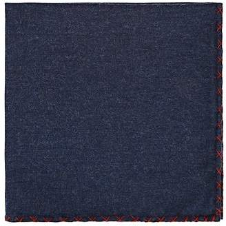 Eleventy Men's Cross-Stitched Cotton Handkerchief