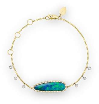 Meira T 14K Yellow Gold Oval Blue Opal and Diamond Bracelet