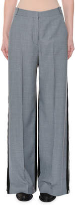 Stella McCartney Wide-Leg Two-Tone Check Wool Trousers