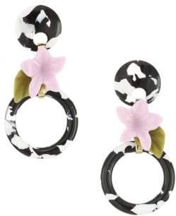 Lele Sadoughi Small Hibiscus Hoop Earrings