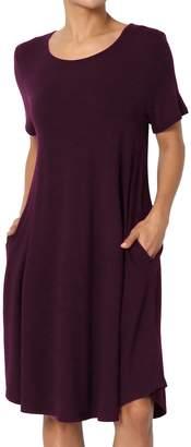 TheMogan Women's Sleeveless Trapeze Knit Pocket T-Shirt Dress Black M