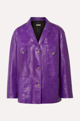 Miu Miu Oversized Leather Jacket - Purple