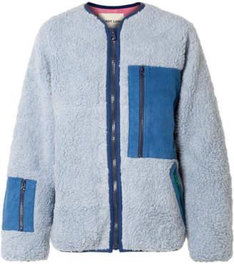 Sandy Liang - Corduroy-paneled Fleece Jacket - Light blue
