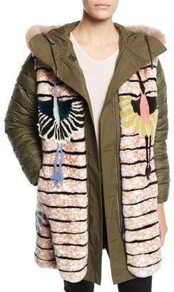 Yves Salomon Army Reversible Intarsia Parka Coat w/ Fur Trim