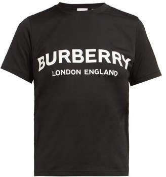 Burberry Shotover Logo Print Cotton T Shirt - Womens - Black