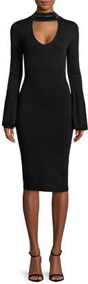 Rachel Roy Beaded Neck Bell Sleeve Sheath Dress