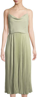 Valentino Strappy Pleated-Skirt Silk Midi Dress