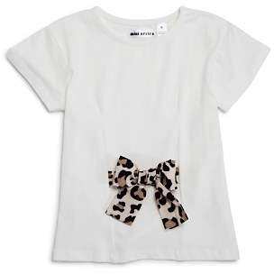 Mini Series Girls' Leopard-Print Bow Tee, Little Kid - 100% Exclusive