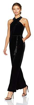 Tahari by Arthur S. Levine Women's Halter Velvet Jumpsuit With Self Tie Belt