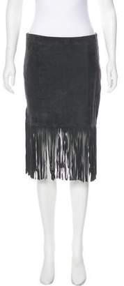 Scoop Suede Knee-Length Skirt