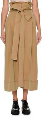 Alexander McQueen Paperbag-Waist Wide-Leg Culotte Ankle Pants