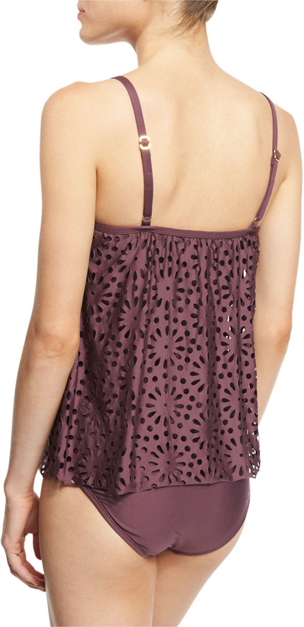Luxe by Lisa Vogel Aphrodite Floral Sway Tankini Swim Top 8