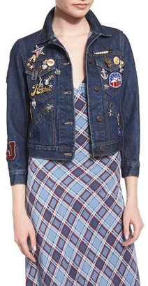 Marc Jacobs 3/4-Sleeve Embellished Denim Jacket, Resin Rinse $695 thestylecure.com
