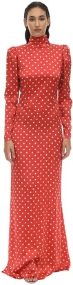 Alessandra Rich Long Polka Dot Satin Dress