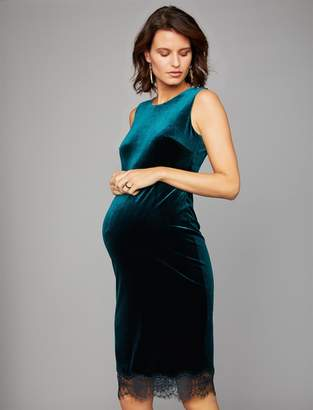 A Pea in the Pod Lace Trim Velvet Maternity Dress
