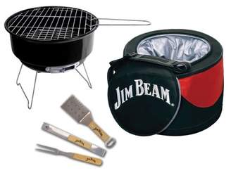 Jim Beam 5-Piece Cooler and Grill Set with 3-Piece Parawood and Stainless Steel Barbecue Tool Set