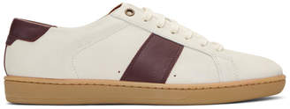 Saint Laurent White and Burgundy Court Classic SL/01 Sneakers