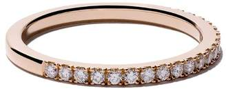 De Beers 18kt rose gold DB Classic half pavé diamond band
